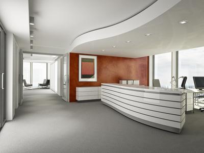 Büro Empfang mit roter Wand